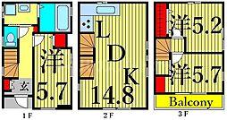 東京メトロ日比谷線 入谷駅 徒歩8分の賃貸一戸建て 3階3LDKの間取り