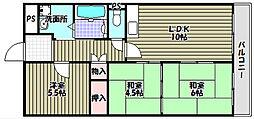 大阪府堺市南区土佐屋台の賃貸マンションの間取り
