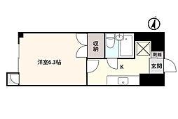 アシスト第3富山マンション 6階1Kの間取り