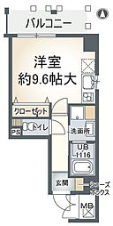 アミスタ東園田 4階ワンルームの間取り