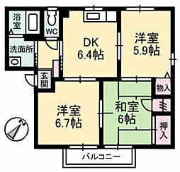 フォーレス日の出 B棟[2階]の間取り