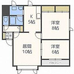 ピュアハウスB[2階]の間取り