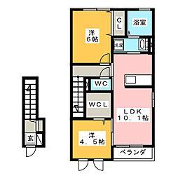 群馬県高崎市大沢町の賃貸アパートの間取り