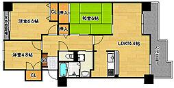 兵庫県神戸市兵庫区新開地6丁目の賃貸マンションの間取り