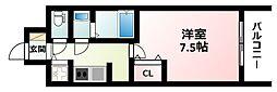 Osaka Metro御堂筋線 江坂駅 徒歩7分の賃貸マンション 13階1Kの間取り