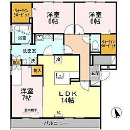 メゾンソレイユ B棟[3階]の間取り
