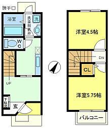 兵庫県神戸市垂水区西舞子2丁目の賃貸アパートの間取り