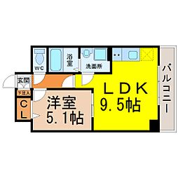 愛知県名古屋市熱田区尾頭町の賃貸マンションの間取り