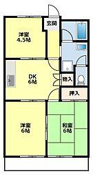 愛知県豊田市花園町塩倉の賃貸アパートの間取り