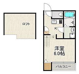 JR鹿児島本線 箱崎駅 徒歩16分の賃貸アパート 1階1Kの間取り