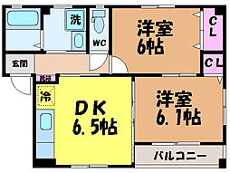 愛媛県松山市居相5丁目の賃貸アパートの間取り