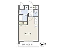JR鹿児島本線 熊本駅 徒歩17分の賃貸マンション 5階ワンルームの間取り