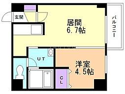 札幌レジデンス桑園 5階1DKの間取り