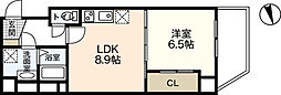 JR山陽本線 広島駅 徒歩15分の賃貸マンション 6階1LDKの間取り