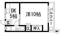松栄石橋ハイツ[4階]の間取り