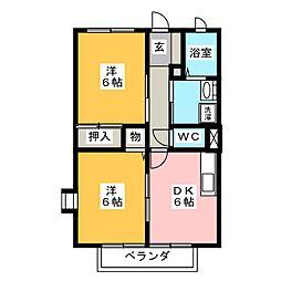 愛知県名古屋市緑区鳴海町字文木の賃貸アパートの間取り