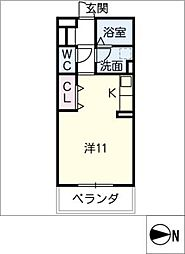 愛知県日進市米野木台3丁目の賃貸アパートの間取り