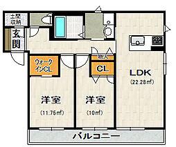 荒牧新築アパート[202号室]の間取り