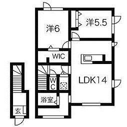 北海道札幌市白石区菊水一条4丁目の賃貸アパートの間取り