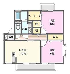 愛知県名古屋市名東区猪子石原1の賃貸アパートの間取り