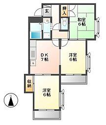 愛知県名古屋市中川区中島新町3丁目の賃貸マンションの間取り