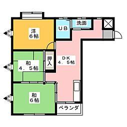 ジュネス歌里[3階]の間取り