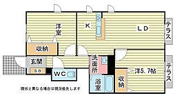 兵庫県加古川市加古川町南備後113丁目の賃貸アパートの間取り
