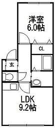 北海道札幌市西区発寒四条5丁目の賃貸アパートの間取り