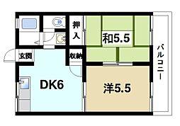 奈良県奈良市学園朝日町の賃貸アパートの間取り