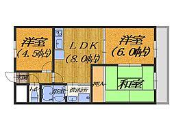 大阪府堺市堺区東雲西町2丁の賃貸マンションの間取り