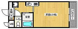 京都府京都市北区上賀茂朝露ケ原町の賃貸マンションの間取り