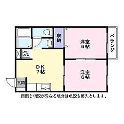 ミンミンハイツ2[2階]の間取り