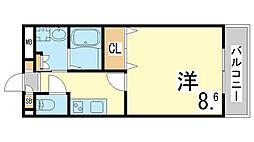 神戸市西神・山手線 学園都市駅 徒歩3分の賃貸マンション 5階1Kの間取り