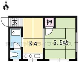 大和山彦荘[8号室]の間取り