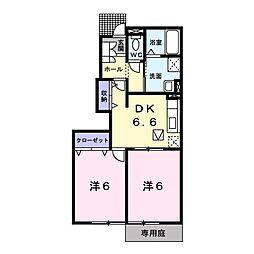 新潟県新潟市江南区いぶき野1丁目の賃貸アパートの間取り