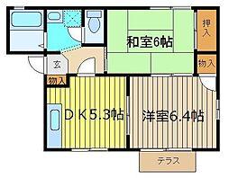 ユカリ コーポD[1階]の間取り