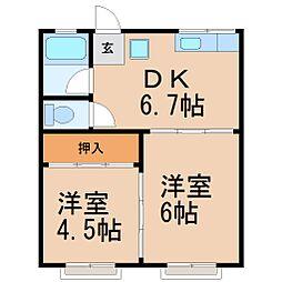 笹目アパート[1階]の間取り