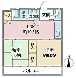 京和コーポ[3階]の間取り
