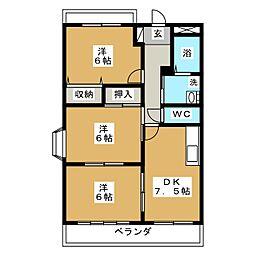 ブルースカイマンションII[2階]の間取り