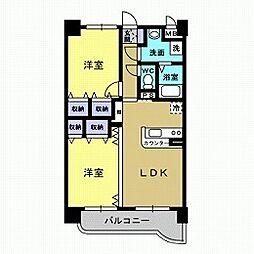 石井町2LDKマンション[3階]の間取り