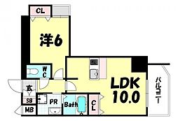 JR東海道・山陽本線 三ノ宮駅 徒歩10分の賃貸マンション 6階1LDKの間取り