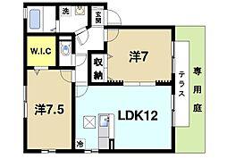 京都府木津川市梅美台7丁目の賃貸アパートの間取り