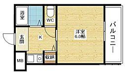 クレセント都島 6階1Kの間取り