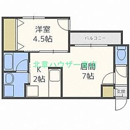 北海道札幌市東区北十六条東15の賃貸マンションの間取り