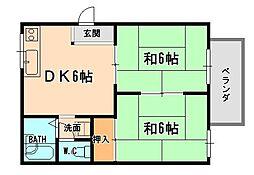 兵庫県伊丹市稲野町5丁目の賃貸アパートの間取り