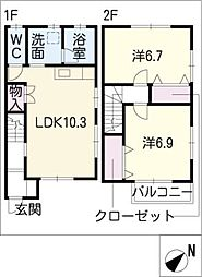 [タウンハウス] 三重県四日市市別名5丁目 の賃貸【/】の間取り