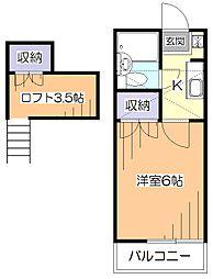 東京都小平市花小金井南町3丁目の賃貸アパートの間取り