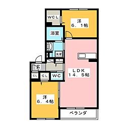 アンヴェリール飯野[2階]の間取り
