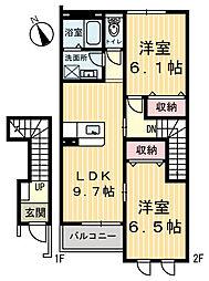 栃木県鹿沼市西鹿沼町の賃貸アパートの間取り