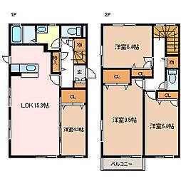 長野県松本市大字寿豊丘の賃貸アパートの間取り
